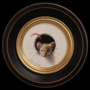 "SOLD ""Petit Souris 345"" (Little Mouse 345) by Marina Dieul 4"" diameter plus frame (shown) - oil USD $900 Framed (approx CAD $1180 Framed)"