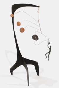 """Bell"" (homage to Alexander Calder) by Janis Woode steel, copper, wrapped copper wire 25"" (H) x 7 1/2"" (W) x 15"" (L) $3000"