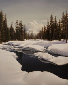 "SOLD ""December Stream"" by Ray Ward 16 x 20 – oil $1925 Unframed"