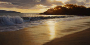 "SOLD ""Evening Shore Break"" by Ray Ward 6 x 12 – oil $850 Unframed"