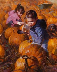 """Fun Time at Harvest Season,"" by Clement Kwan 16 x 20 - oil $3400 Unframed"