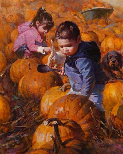 """""""Fun Time at Harvest Season,"""" by Clement Kwan 16 x 20 - oil $3400 Unframed"""