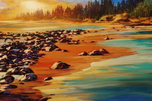 """Hot Rocks,"" by David Langevin 24 x 36 - acrylic $3275 Unframed"