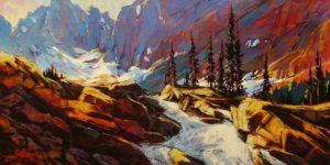 "SOLD ""Rock Wall Waterfall,"" by David Langevin 18 x 36 - acrylic $2395 Unframed"