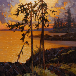 "SOLD ""Sundown, Southwest Vancouver Island,"" by Graeme Shaw 30 x 30 - oil $3420 Unframed"