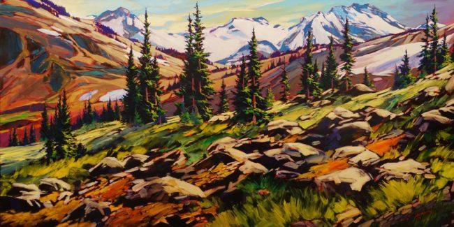 """There's a lot goin' on,"" by David Langevin 36 x 72 - acrylic $6680 (thick canvas wrap)"