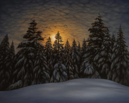 """""""Tree Line and Night Sky,"""" by Ray Ward 24 x 30 - oil $3625 Unframed"""