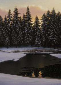 "SOLD ""Winter Pond at Dusk"" by Ray Ward 10 x 14 – oil $1175 Unframed"