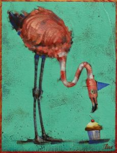 "SOLD ""Accosting the Frosting,"" by Angie Rees 6 x 8 - acrylic $300 (unframed panel with 1 1/2"" edges)"