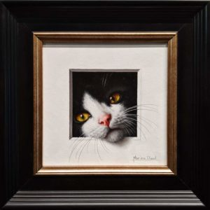 "SOLD ""Chat 21"" (Cat 21) by Marina Dieul 6 x 6 plus frame (shown) - oil USD $1400 Framed (approx $1800 CAD Framed)"