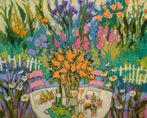 "SOLD ""Cocktail at the Garden"" by Claudette Castonguay 24 x 30 – acrylic $1650 Unframed"