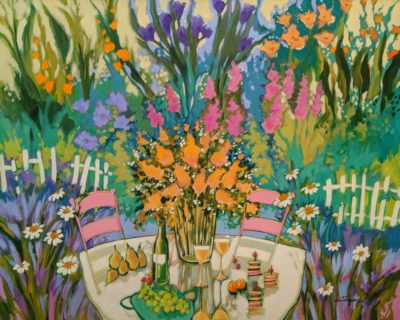 """""""Cocktail at the Garden,"""" by Claudette Castonguay 24 x 30 - acrylic $1650 Unframed"""