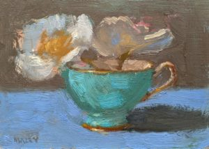 "SOLD ""First Bloom,"" by Paul Healey 5 x 7 - oil $275 Unframed"