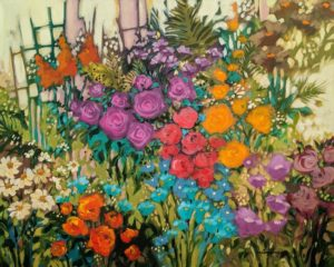 "SOLD ""A Garden Near My Home,"" by Claudette Castonguay 24 x 30 - acrylic $1650 Unframed"