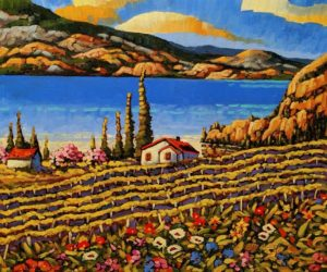 "SOLD ""Greata Ranch, Okanagan Lake"" by Rod Charlesworth 20 x 24 – oil $2195 Unframed"