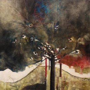 """Knoll with Blackbirds,"" by Lee Caufield 24 x 24 - acrylic $1170 Unframed"