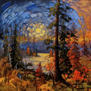 "SOLD ""Midnight Light, Summer Solstice"" by Rod Charlesworth 36 x 36 – oil $4390 Unframed"