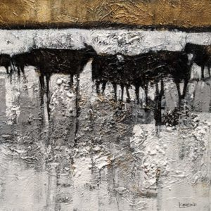 "Old Gate Angus,"" by Lee Caufield 16 x 16 - acrylic $860 Unframed"
