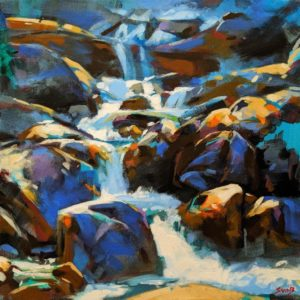 "SOLD ""Out From the Shadows (Shannon Falls, B.C.),"" by Mike Svob 16 x 16 - acrylic $2030 Unframed"