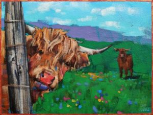 "SOLD ""Peek-a-Moo,"" by Angie Rees 6 x 8 - acrylic $300 (unframed panel with 1 1/2"" edges)"