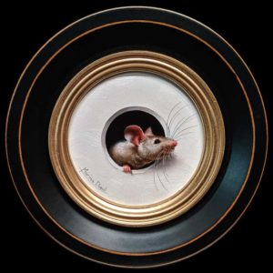 "SOLD ""Petite Souris 353"" (Little Mouse 353) by Marina Dieul 4"" diameter plus frame (shown) - oil USD $900 Framed (approx $1180 CAD Framed)"