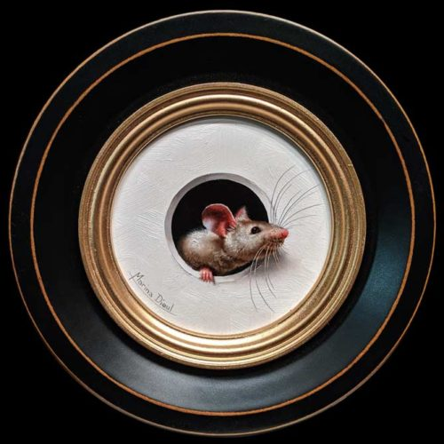 """Petite Souris 353"" (Little Mouse 353) by Marina Dieul 4"" diameter plus frame (shown) - oil USD $900 Framed (approx $1180 CAD Framed)"