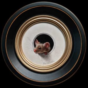 "SOLD ""Petite Souris 356"" (Little Mouse 356) by Marina Dieul 4"" diameter plus frame (shown) - oil USD $900 Framed (approx $1180 CAD Framed)"