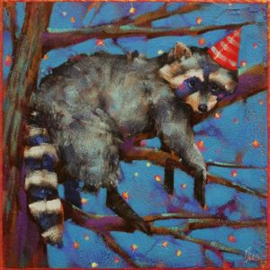 "SOLD ""Too Pooped to Party,"" by Angie Rees 8 x 8 - acrylic $425 (unframed panel with 1 1/2"" edges)"
