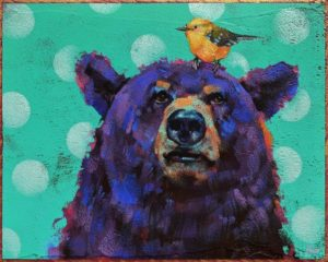 "SOLD ""Twitterpated,"" by Angie Rees 8 x 10 - acrylic $575 (unframed panel with 1 1/2"" edges)"