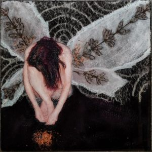 "SOLD ""Wings,"" by Nikol Haskova 6 x 6 - mixed media with high-gloss finish $380 (unframed panel with thick edges)"