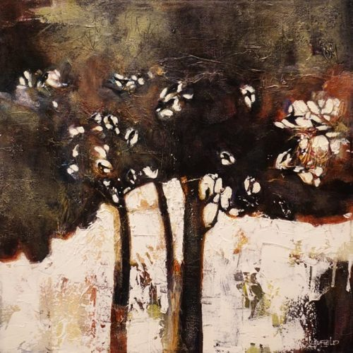 """Woodland with Greek Chorus,"" by Lee Caufield 20 x 20 - acrylic $1000 Unframed"