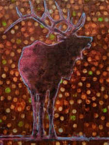 Elk (019-1718) by Les Thomas 30 x 40 - oil $8200 (thick canvas wrap)
