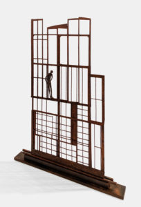 """The Apartment,"" by Janis Woode steel and wrapped copper wire 32"" (H) x 23"" (L) x 2 1/2"" (W) $3300"