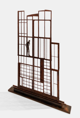 """""""The Apartment,"""" by Janis Woode steel and wrapped copper wire 32"""" (H) x 23"""" (L) x 2 1/2"""" (W) $3300"""