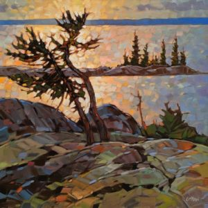 "SOLD ""Evening Brilliance,"" by Graeme Shaw 24 x 24 - oil $2140 (artwork continues onto edges of wide canvas wrap)"