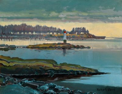"SOLD ""From Drumbeg Park, Gabriola Island"" (circa 2010-2013) by Robert Genn 14 x 18 - acrylic $6000 Unframed"
