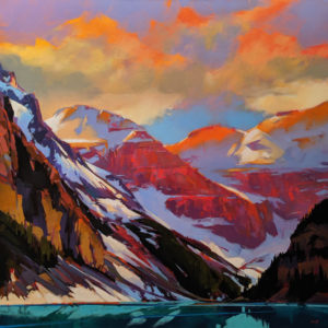"SOLD ""The Last Diamonds (Lake Louise, Alta.)"" by Mike Svob 48 x 48 - acrylic $11,410 (thick canvas wrap)"
