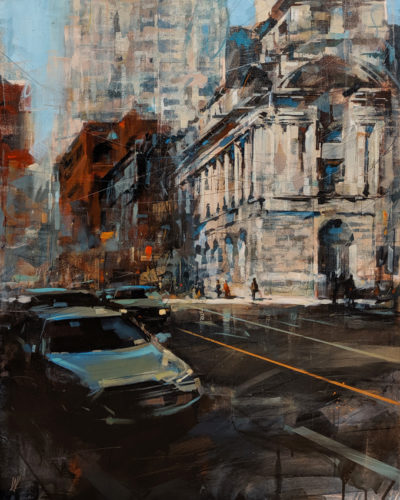 "SOLD ""Shadows in Downtown,"" by William Liao 24 x 30 - acrylic $2350 Unframed $3160 in show frame"