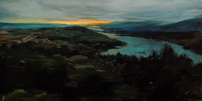 """""""Low Cloud,"""" by William Liao 18 x 36 - acrylic $2475 Unframed First place in 2019 landscapes show, Federation of Canadian Artists"""