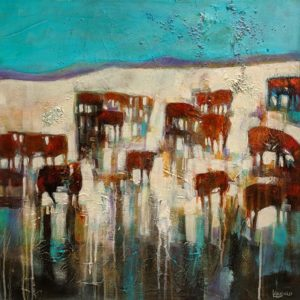 "SOLD ""Range, Cattle, Weather"" by Lee Caufield 24 x 24 – acrylic $1170 (thick canvas wrap)"
