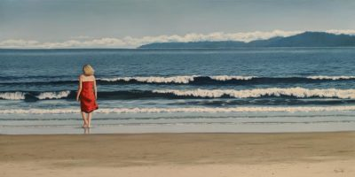 """Vacation,"" by Merv Brandel 24 x 48 - oil $5500 (artwork continues onto edges of wide canvas wrap)"