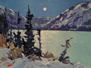"SOLD ""Yukon Moon (North of Whitehorse),"" by Graeme Shaw 9 x 12 - acrylic $580 Unframed"