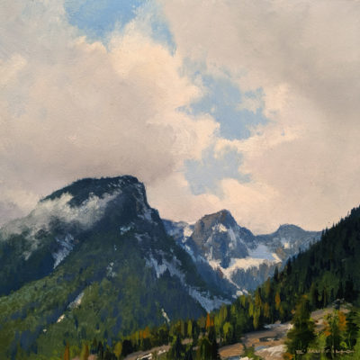 "SOLD ""Blanshard Peak,"" by Renato Muccillo 6 x 6 - oil $1800 in show frame"