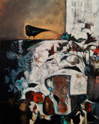 """""""Guest Appearance,"""" by Lee Caufield 24 x 30 - acrylic $1400 (thick canvas wrap)"""