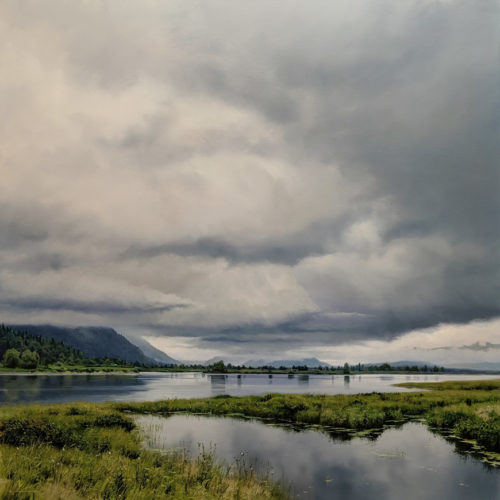 "SOLD ""Laden Skies,"" by Renato Muccillo 40 x 40 - oil $19,700 in show frame"