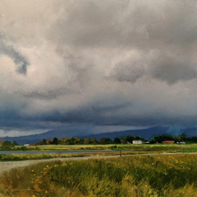 "SOLD ""Laden Sky - Study 1,"" by Renato Muccillo 6 x 6 - oil $1800 in show frame"