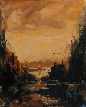 "SOLD ""Memories for this City,"" by William Liao 16 x 20 - acrylic $1120 Unframed $1340 in show frame"