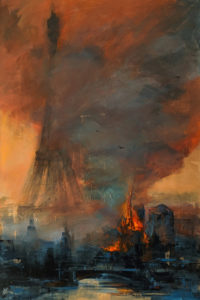 """Notre Dame Cathedral Fire,"" by William Liao 24 x 36 - acrylic $2920 Unframed"