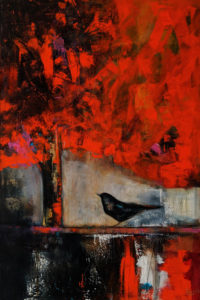 """""""October Blackbird,"""" by Lee Caufield 24 x 36 - acrylic $1650 (thick canvas wrap)"""
