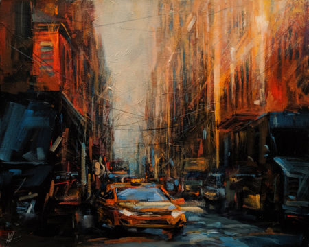 "SOLD ""One Way Street,"" by William Liao 16 x 20 - acrylic $1120 Unframed $1510 in show frame"